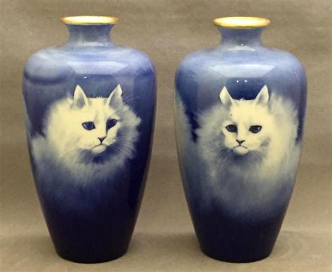 Cat Vases by Vintage Painted Porcelain Signed Cat Vases B Tustin