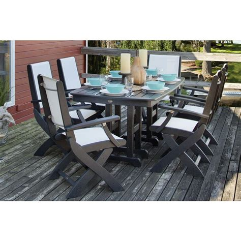 White Patio Dining Sets Polywood Coastal Black 7 Patio Dining Set With White Slings Pws154 1 Bl901 The Home Depot