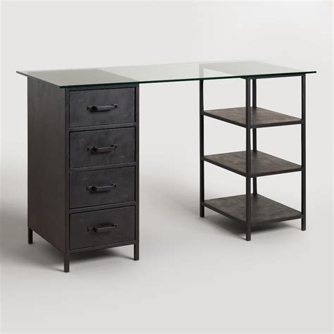 glass desk with drawers glass top craft height colton mix match desk with shelf