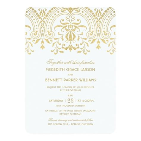 gold wedding cards templates wedding invitations gold vintage invitation card