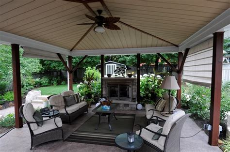 covered patio with fireplace pergola and patio cover puslinch on photo gallery