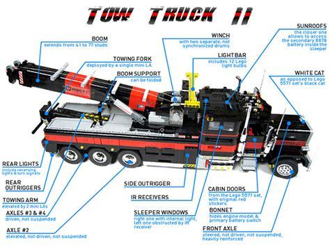 tow truck parts diagram lego tow truck the big brick rig technabob