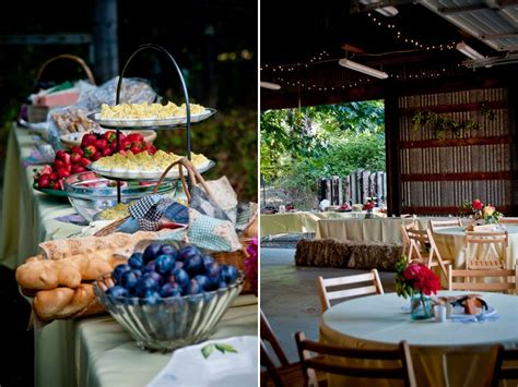 the backyard catering casual outdoor wedding reception with buffet style dining