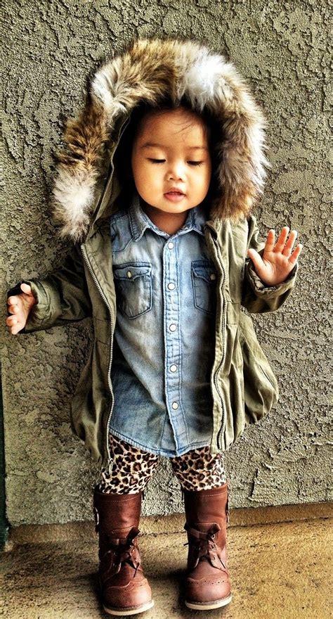 St Kid Line Navy rainy day wear hooded faux fur line anorak navy denim shirt h leopard