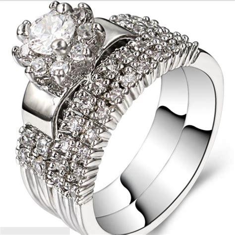2018 size 5 11 rhodium wedding ring engagement halo