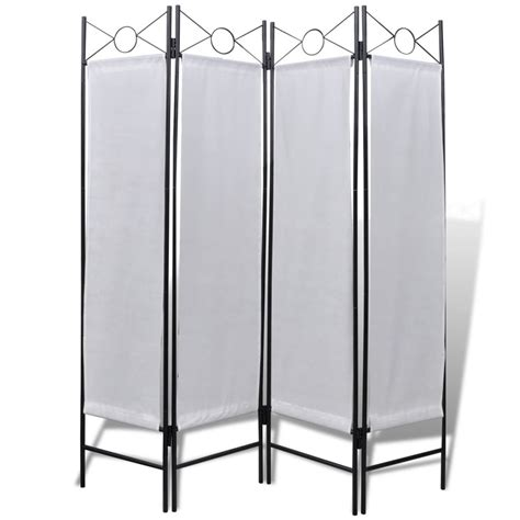 foldable room divider 4 panel room divider privacy folding screen white 5 3 quot x 5 11 quot vidaxl