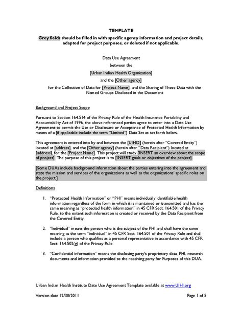 data use agreement template proprietary information agreement template images