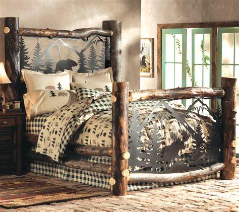 aspen log bed w metal wildlife