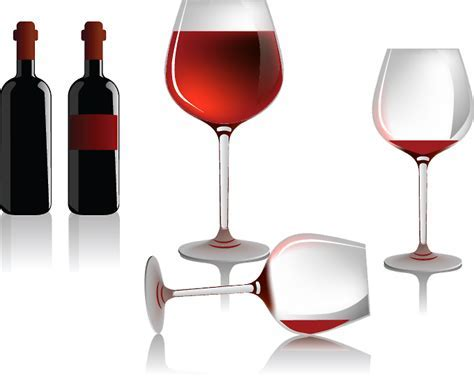 Several wine bottles and glasses (5369) Free EPS Download