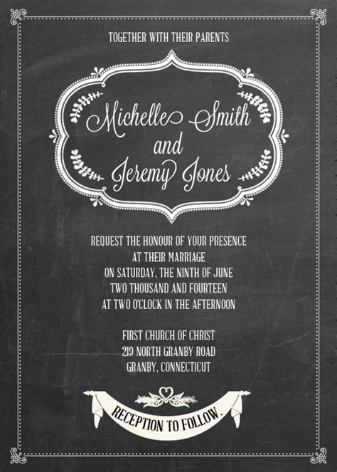 chalkboard ii wedding invitation wedding invitation