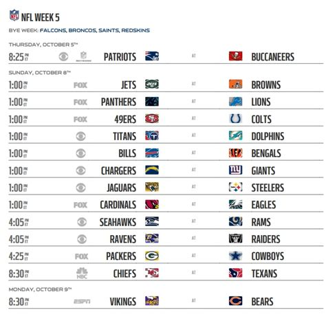 printable nfl schedule week 5 nfl 2017 schedule week 5 regular season