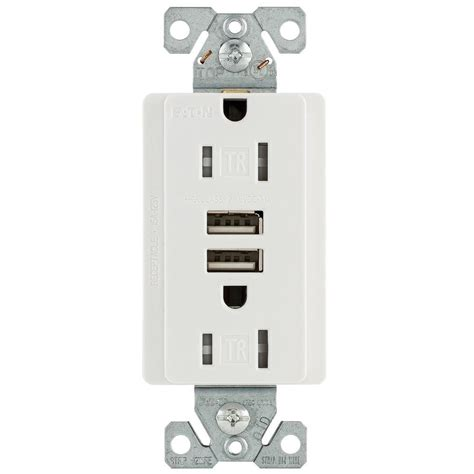 how to install usb wall outlet eaton 15 amp 125 volt combination outlet and 2 usb 3 1 amp