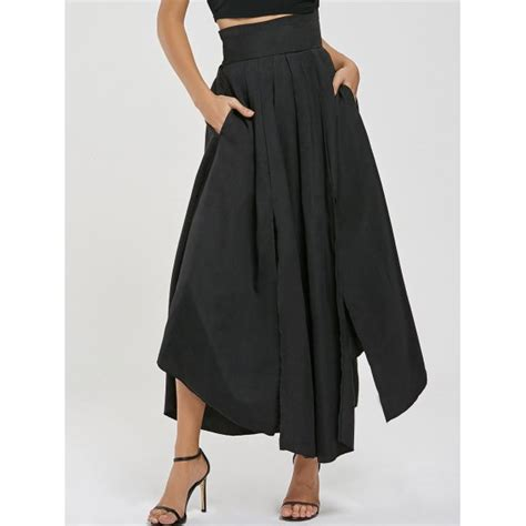 wholesale high waisted pleated slit maxi skirt s black