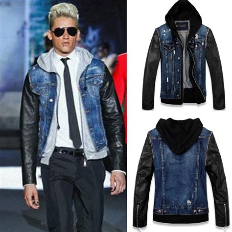 S Size Sleeved Denim Jacket Spell Leather Coll 1 leather jacket with denim vest jacket to