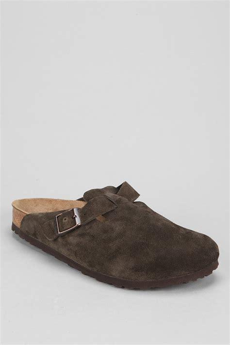birkenstock boston suede slip on shoe in brown for