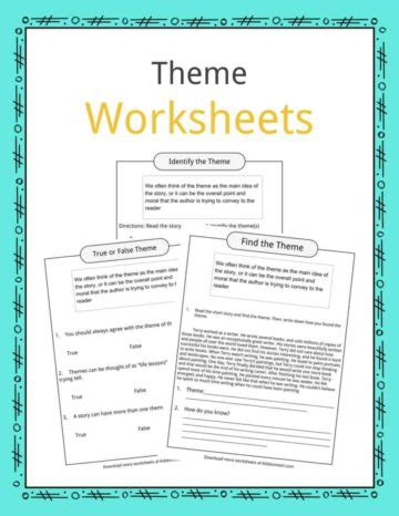 theme language definition english language arts worksheets lesson plans study