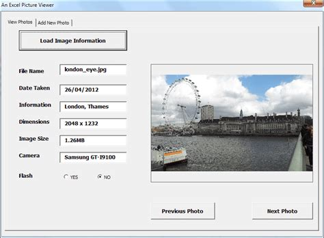 design form using vbscript an excel vba picture viewer project introduction
