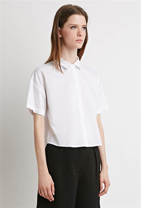 Cotton Boxy Shirt forever 21 boxy cotton blend shirt in white lyst