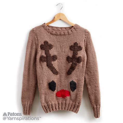 reindeer sweater knitting pattern reindeer knit sweater knit yarnspirations