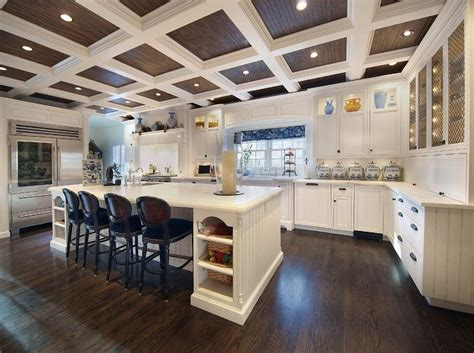 Window Treatment Ideas For Kitchens coffered ceiling with beadboard living room traditional