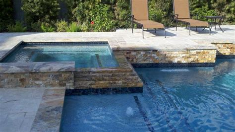 square pools raised travertine square spa traditional pool other