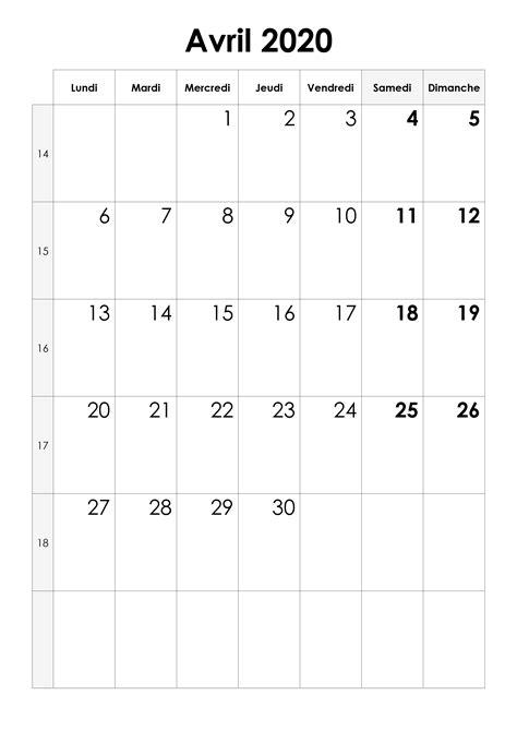 Calendrier avril 2020 — calendrier.su
