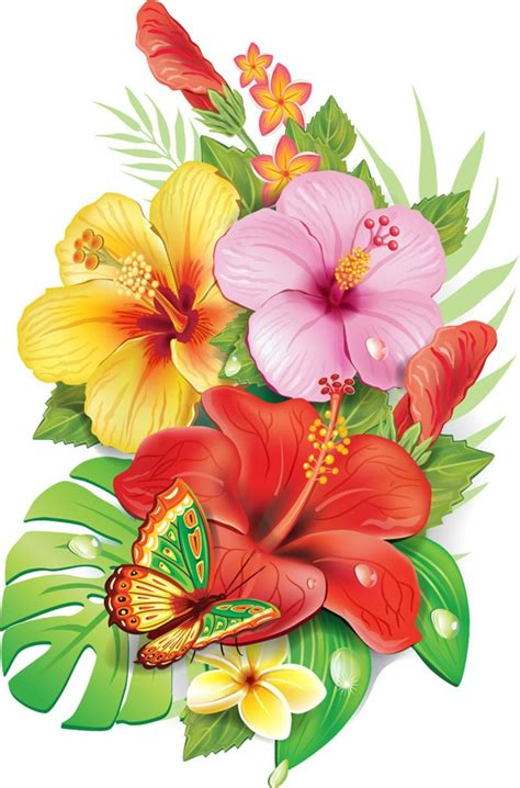 House Designes by Tropical Flowers Vector Graphics Flowers Graphics