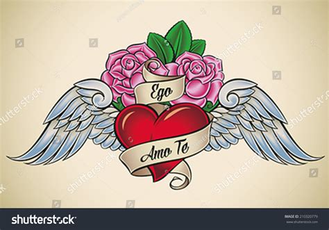 heart tattoo old school vector oldschool styled tattoo red heart pink stock vector