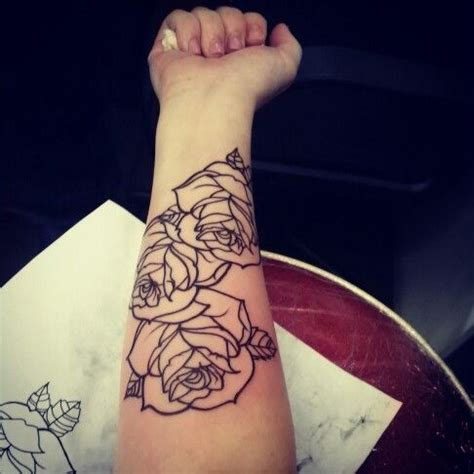 simple floral inner arm tattoo best tattoo design ideas black outline roses tattoo on right forearm tattoos