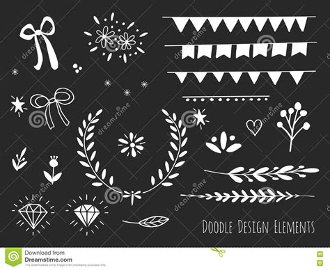 doodle elements 190 isolated doodle design elements stock vector