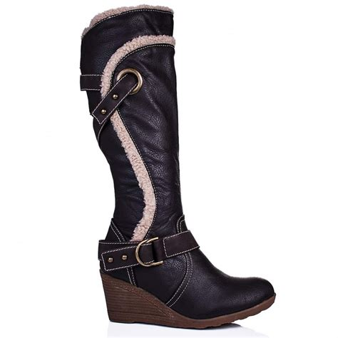 leather boots high heels buy barb wedge heel knee high biker boots brown leather