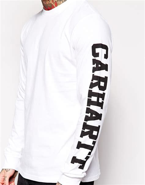 White College T Shirt carhartt sleeve college t shirt in white for lyst