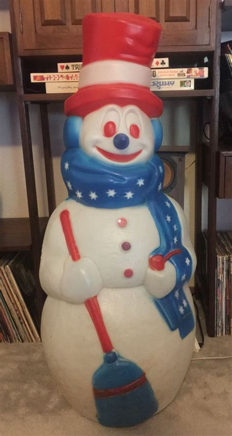 vintage large lighted blow snowman vintage 42 quot general foam patriotic lighted mold snowman decor midcenturymadness