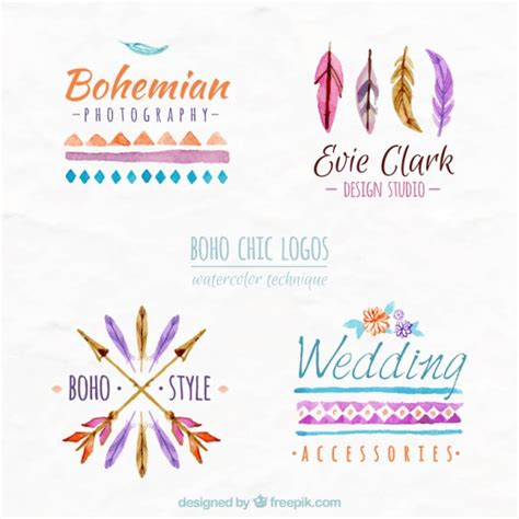 free vector watercolor bohemian feather pattern download watercolor boho chic logos vector premium download