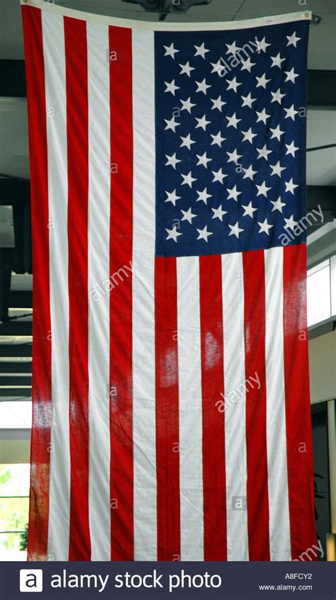 hanging from the ceiling american flag hanging from the ceiling stock photo