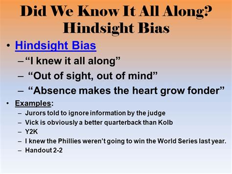 exle of hindsight bias research methods thinking critically with psychological