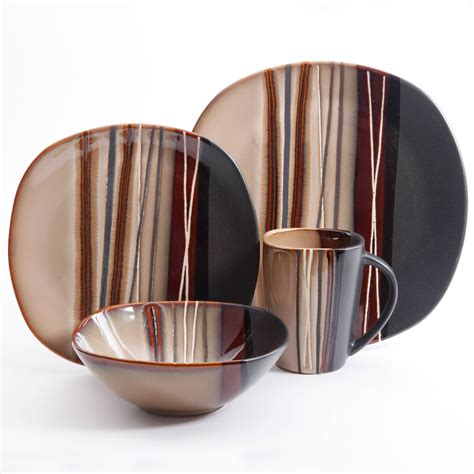 better homes and gardens bazaar brown 16 pc dinnerware set