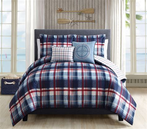 red reversible comforter 5 piece breezy plaid navy red reversible comforter set
