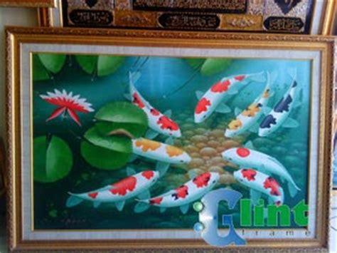 jual lukisan ikan koi glint frame tempat pembuatan bingkai kaligrafi lukisan