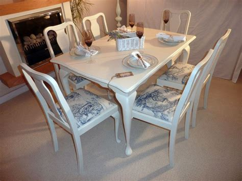 shabby chic extendable dining table with 6 chairs painted vintage antique farmhouse furniture