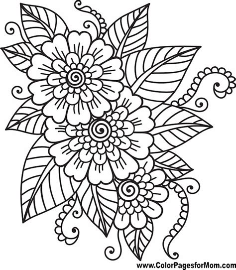 coloring pages for adults floral flower coloring page 41