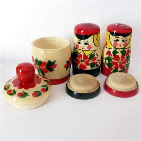 Spice Jar Set Matryoshka Style Spice Jar Set Wooden Decorated Sal Pepper