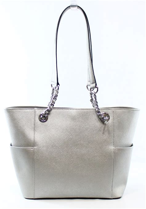 Tas Ck Tote Top Handle Original calvin klein new silver crossgrain leather metallic two handle tote bag 178 7 ebay