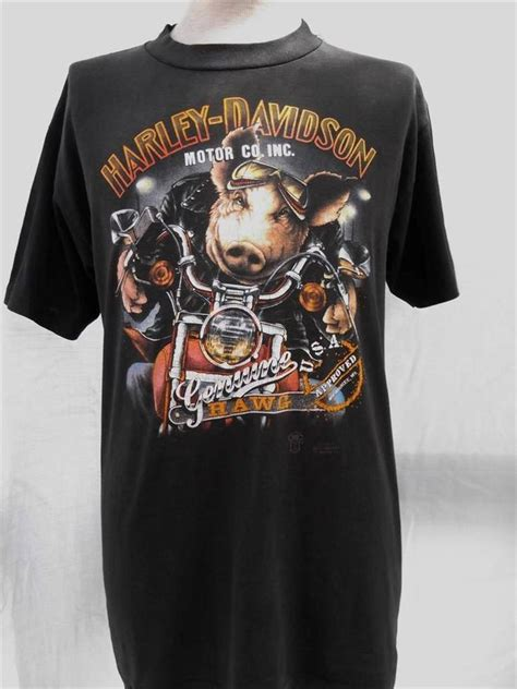 Tshirt Harley Davidson B C vintage 1989 t shirt harley davidson 3d hawg hawaiian size