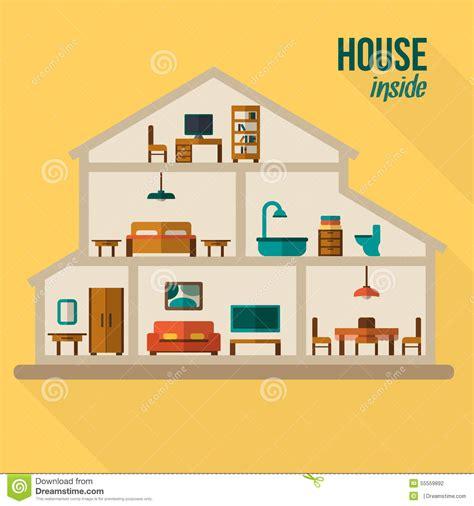 disegno interno casa nel taglio interno moderno dettagliato della casa