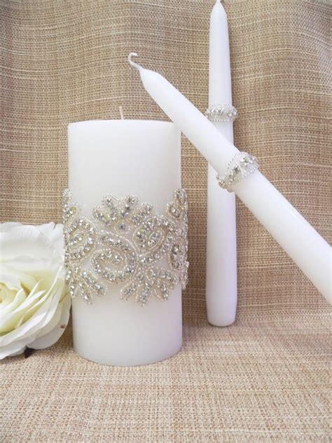wedding candle set crystals wedding unity candle wedding