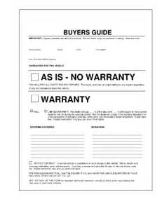 used car warranty template buyers guide fill printable fillable blank