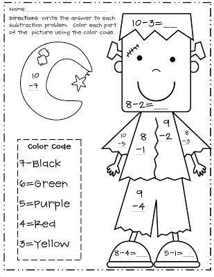 halloween coloring pages math facts here s a halloween themed color by number for practicing
