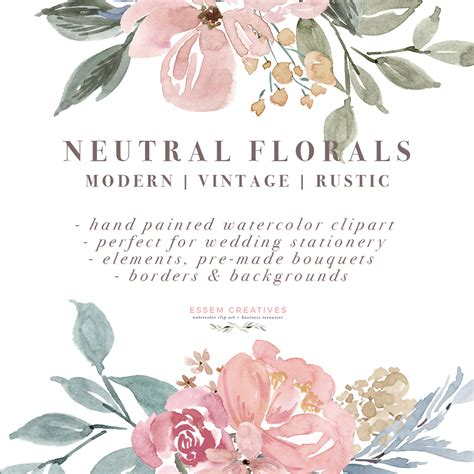 Wedding Invitation Border Graphics by Neutral Watercolor Flowers Clipart Floral Borders