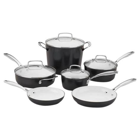hell s kitchen induction pans upc 086279087508 cuisinart elements pro nonstick ceramic 10 pc cookware set black